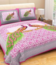 Bedsheets Eva Stylish Cotton Bedsheets  Fabric: Pure Cotton No. Of Pillow Covers: 2 Thread Count: 180 Multipack: Pack Of 1 Sizes:  Queen (Length Size: 100 in Width Size: 90 in Pillow Length Size: 27 in Pillow Width Size: 17 in)  Work : Printed Country of Origin: India Sizes Available: Queen, King   Catalog Rating: ★4.1 (20968)  Catalog Name: Eva Stylish Pure Cotton 100x90 Double Bedsheets Vol 1 CatalogID_609445 C53-SC1101 Code: 963-4257293-048