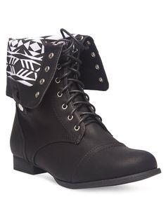 Aztec Print Foldover Combat Boots - Wide Width | Wet Seal+