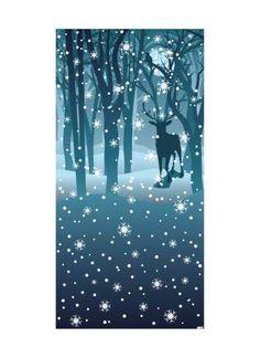 Nächtlicher Zauberwald Motivdruck 180x90 cm (L/B) Papier