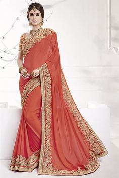 Bemberg And Georgette Fabric Embroidered Designer Saree In Orange Color