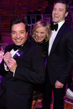 Amy Poehler was sandwiched between Jimmy Fallon Justin Timberlake at the Time 100 Gala