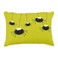 Cute Hanging Halloween Spiders Reversible Decorative Pillow