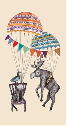 Montgolfières et Animaux par Liekeland. Everyone can fly!