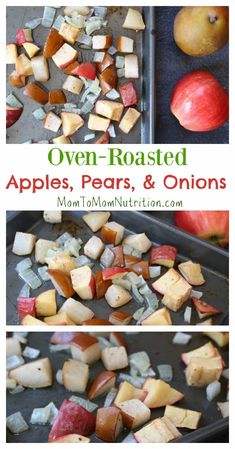 Bring out the delicious flavors of fall with this simple side dish of oven-roasted apples, pears, and onions. Healthy Snacks To Make, Healthy Side Dishes, Side Dishes Easy, Healthy Dinner Recipes, Baby Food Recipes, Fall Recipes, Toddler Recipes, Pear Recipes, Slow Cooker Pork Tenderloin