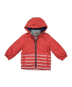Red & Gray Stripe Hooded Jacket - Infant, Toddler & Boys