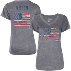 Women's Dallas Cowboys Jason Witten Gray American Script Name & Number Tri-Blend T-Shirt