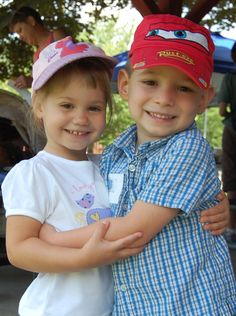 Sister and Brother from Russia are loving each other at the Building Blocks Adoption picnic 2012