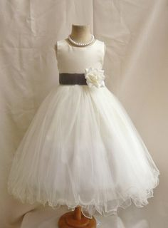 Flower Girl Dresses IVORY with Gray Dark FD0FL by NollaCollection, $34.99