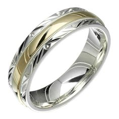 Swirl - Stunning Two Tone Comfort Fit Wedding Band for Him