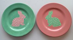 Easter Bunny Plates | Paint Your Own Pottery | Paint Your Pot | Cary, North Carolina