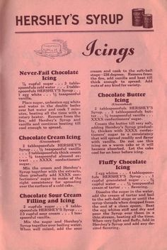 VintageChocolate Cream Icing (Uncooked) 2 tablespoonfuls HERSHEY'S Syrup . - VintageChocolate Cream Icing (Uncooked) 2 tablespoonfuls HERSHEY'S Syrup . Retro Recipes, Old Recipes, Vintage Recipes, Baking Recipes, Cake Recipes, Dessert Recipes, Cookbook Recipes, Family Recipes, Food Cakes