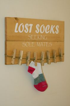 Lost socks sign for the laundry room