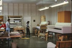 Watchtower Farms upholstry shop - left to right - mom - ??? - Gail Pearson (Roger Johnson)