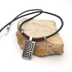 Men leather necklace, Black leather necklace, Spiral necklace for men