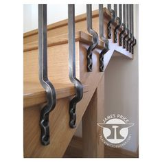 contemporary forged iron staircase balustrade detail