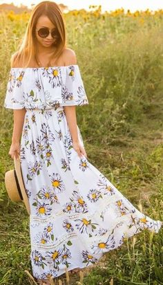 #summer #boho #chic #style   Off The Shoulder Floral Maxi Dress