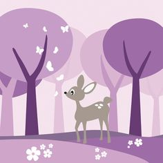 Deer in Purple Woods - Tapetit / tapetti - Photowall