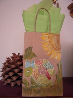 Hand Painted Bags by Elvira Nell SUSAN THE TURTLE