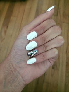 White polish/round nails/summer 2014