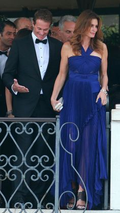 Who: Cindy CrawfordWore: A pleated, cobalt gown Where: Attending the wedding of George Clooney and Amal Alamuddin via @stylelist | http://aol.it/1pCz0A1