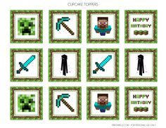 free printab;e minecraft toppers | FREE Minecraft Party Printables from Printabelle | Catch My Party