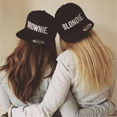 Retro Styles Blondie brownie SnapBack hat - super cool blondie brownie SnapBack hat embroidery style text choose from blondie or brownie or pair up with your bff or sister for a cute gift idea! Bff Pictures, Best Friend Pictures, Friend Photos, Bff Pics, Best Friend Fotos, Best Friend Outfits, Best Friend Stuff, Bff Drawings, Best Friend Drawings