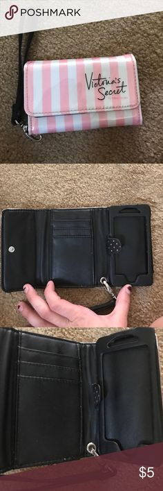 iPhone 5/5s wallet Victoria secret iPhone 5/5s wallet with wrist strap. Will come with protective glass for your screen. Victoria's Secret Bags Clutches & Wristlets
