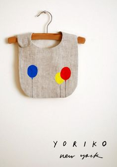 balloons bib | linen bib with unbleached cotton lining | hand-embroidered  hand-printed