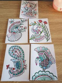 Madhubani Art, Madhubani Painting, Fish Drawings, Pencil Drawings, Handmade Greetings, Greeting Cards Handmade, Fine Pens, Indian Folk Art, Embroidery Works