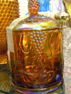 Carnival Glass Canister by Indiana Glass in Harvest design.   Difficult to find (40-60)