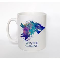 Game of Thrones House Stark 2 Mug Game of Thrones Mug Game of Thrones... (€13) ❤ liked on Polyvore featuring home, kitchen & dining, drinkware, drink & barware, home & living, mugs, silver, quote mugs, colorful coffee mugs and european cup