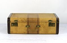Suitcase Vintage Suitcase Striped Tweed Suitcase by HuntandFound