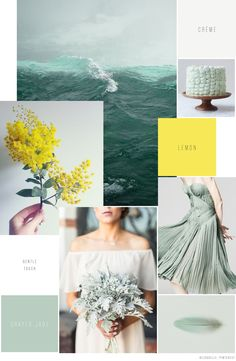 Blue & Ivory Moodboard Monday / Gentle Touch - Hochzeitsinspiration Jade, Lemon, Creme, Frisch, Locker, Unbeschwert, Alternative zur Gartenhochzeit, Individuelle Hochzeitsgetaltung