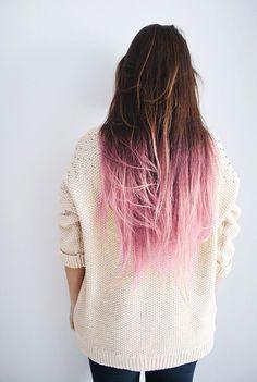 pastel pink dip dye on dark brown hair. beautiful!!!