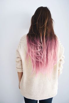 pastel pink dip dye on dark brown hair. beautiful!!!