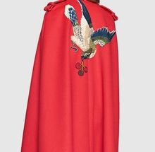Designer Fashion 2016 Women autumn winter British style flower embroidery batwing sleeve pocket long wool cloak cape poncho 8755(China (Mainland))