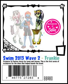 Swim Class Wave 2 is exclusive to Justice Stores. The wave features Frankie with blue hair, Rochelle and the second release of Holt Hyde.