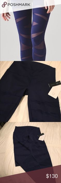 NWT Lululemon Wonder Under (Hi-rise) (tech mesh) These are new with tag Lululemon Wunder Under (Hi-rise)  (tech mesh) leggings blue color. SZ 10 never worn. I promise you will love these lululemon athletica Pants