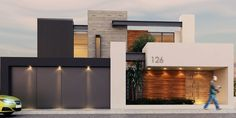 Facade: Modern style houses by Besana Studio Modern House Facades, Modern Exterior House Designs, Dream House Exterior, Modern Architecture House, Residential Architecture, Modern House Design, Exterior Design, Architecture Design, Minimalist Architecture