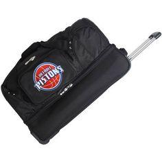 Denco NBA 27 inch Rolling Drop Bottom Duffel, Detroit Pistons, Black
