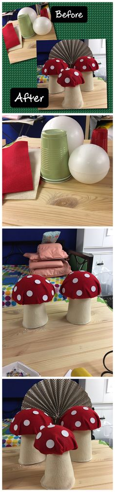 Simple DIY Mushroom made out of styrofoam balls and regular plastic cups.  List: 1. Felt paper 2. Styrofoam balls (or you can buy the half ones which are easier to work with) 3. Plastic cups 4. Sewing pins  5. Circle stickers