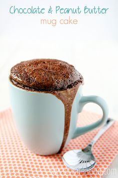 Chocolate Peanut Butter Mug Cake by Sweet2EatBaking.com