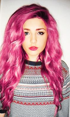 Fuchsia pink-- i wouldn't be interested with pink hair, but this is pretty sweet