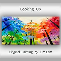 Tree art Original abstract painting Looking Up forest от elseart