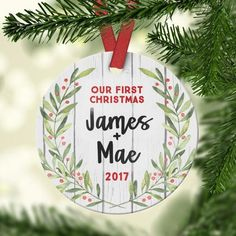 ca8c2bc4c19d Our First Christmas Together Ornament - wood wreath