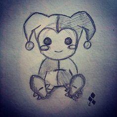 Harley Quinn Cute drawing sketch.