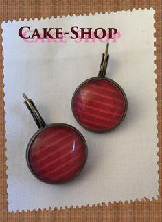 """B.O. cabochons 14mm """"nuances rouges & rayures"""" de Cake shop - Bijoux gourmands sur DaWanda.com"""