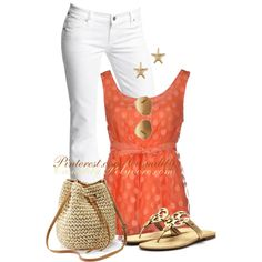 """""""Tory Burch Sandals & Polka Dot Sleeveless Top"""" by casuality on Polyvore"""