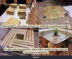 Stolik ze skrzynek - Wykorzystaj 4 drewniane skrzynki do zrobienia oryginalnego stolika.        Do płyty wiórowej przykręć cztery kółka, prz...