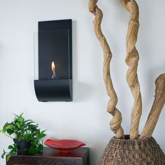 Nu-Flame Cannello Wall Mounted Modern Vent Free Bio-Ethanol Torch Fireplace